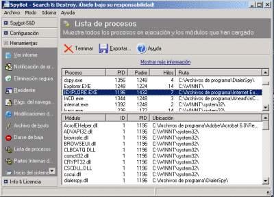 Captura del apartado Lista de procesos de Spybot S&D