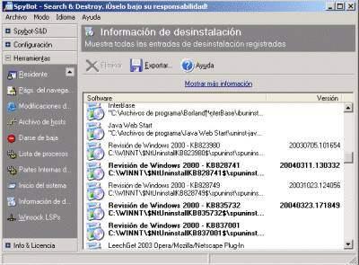 Captura del apartado Información de desinstalación de Spybot S&D