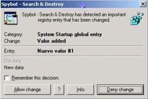 Captura de una detección en tiempo real de una modificació del registro