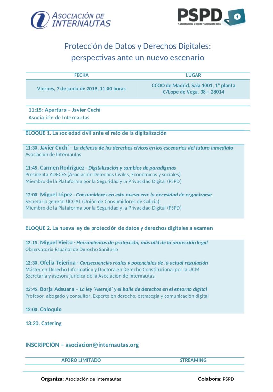 Programa Jornada sobre Proteccio?n de Datos y Derechos Digitales