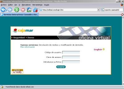 Phising env os masivos de correos que simulan ser de caja for Caja madrid es oficina internet