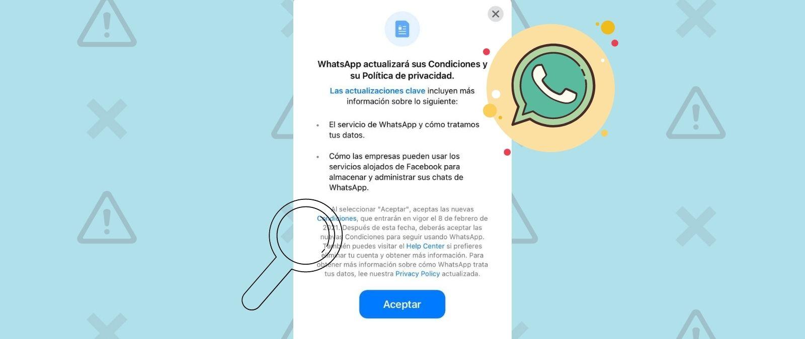 Nuevas Condiciones privacidad WhatsApp