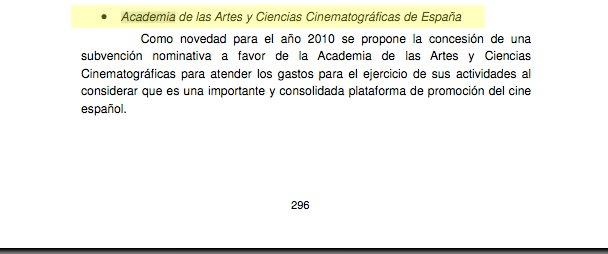 Presupeustos del Estado 2010. Pagina 296 tomo XIV Asignacion a la Academia de las artes y las ciencias audiovisuales