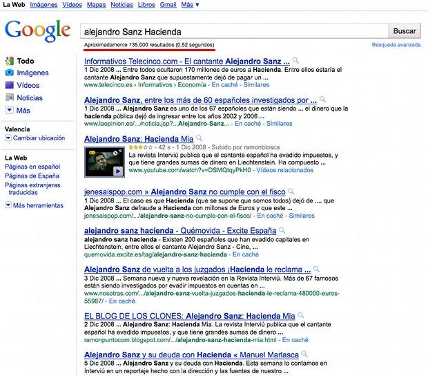 REsultados busqueda Google problemas con Hacienda de Alejandro Sanz