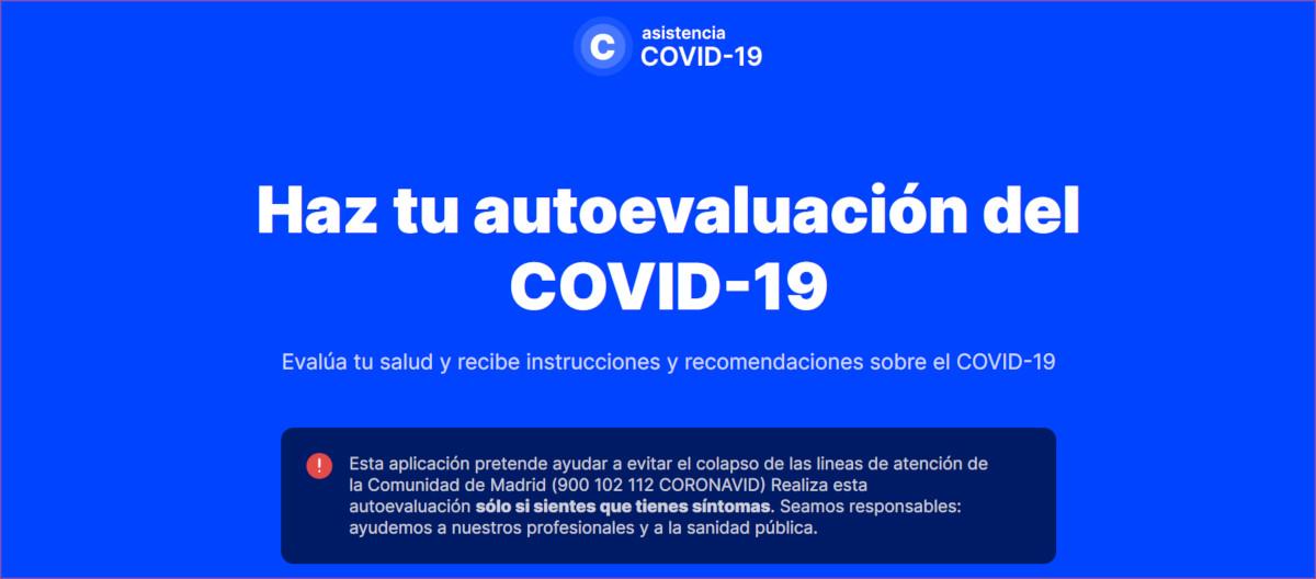 Pagina web Asistencia COVID-19 COmuiad de Madrid