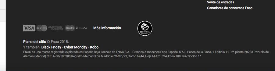 información fiscal de la web de fnac.es
