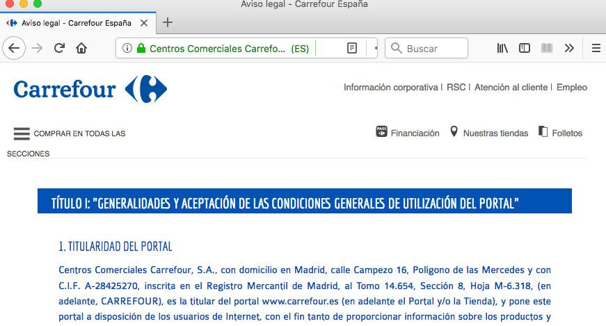 información fiscal de la web de carrefour.es