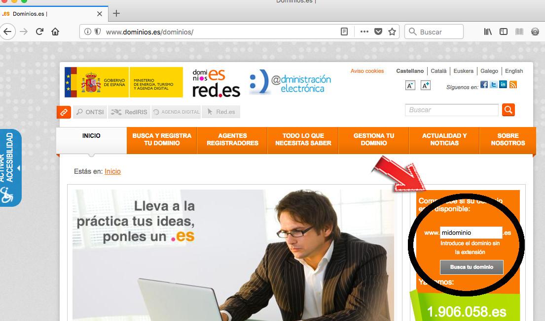 web de los dominios .es